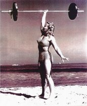 Pudgy Stockton, early U.S. female bodybuilder publicity photo.