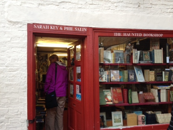 Entering the joy of The Haunted Bookshop in Cambridge, a historical children's books shop.