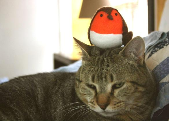 Things on Cowboy's Head No. 19: Christmas Robin ornament from Gaynor.