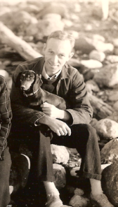 E. B. White and his dog Minnie.