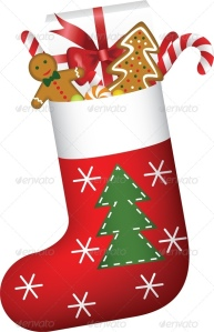 christmas sock with gift and sweets _pv