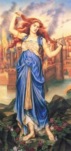 (Above) - Cassandra in front of the burning city of Troy....