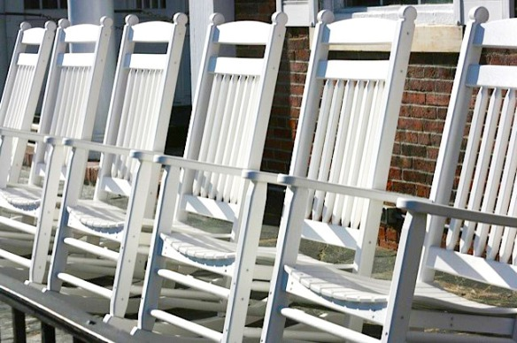 Some of the ubiquitous Adirondack rocking chairs that we had lots of fun sitting in during our stay in Vermont.