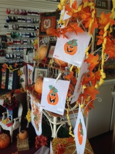 The Halloween display at Pocketful of Stitches..