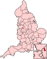 Stoke on Trent (or the Potteries) is quite high up on the left...