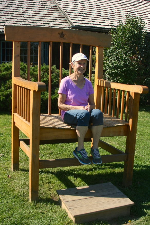 My (rather small) mum sitting in a (rather big) chair at the Shelburne Museum.