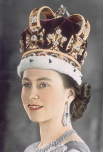 Local Input~ ROYAL QUIZ- Q30 - Queen Elizabeth II in her coronation crown, 1953. Known as St Edward's Crown, it was made in 1661 for the coronation of King Charles II, and is reputed to contain gold from the crown of Edward the Confessor. It is set with 444 precious stones. (Photo by Hulton Archive/Getty Images)