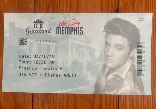 Photo of entry ticket to Graceland.