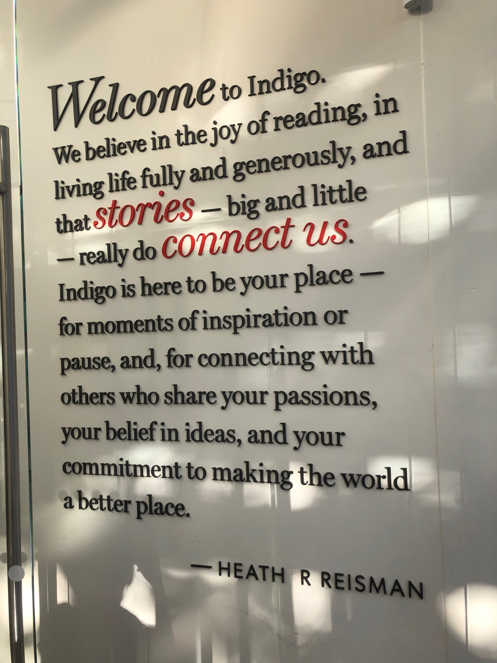 Pic of written welcome statement to !ndigo bookshop in Vancouver.