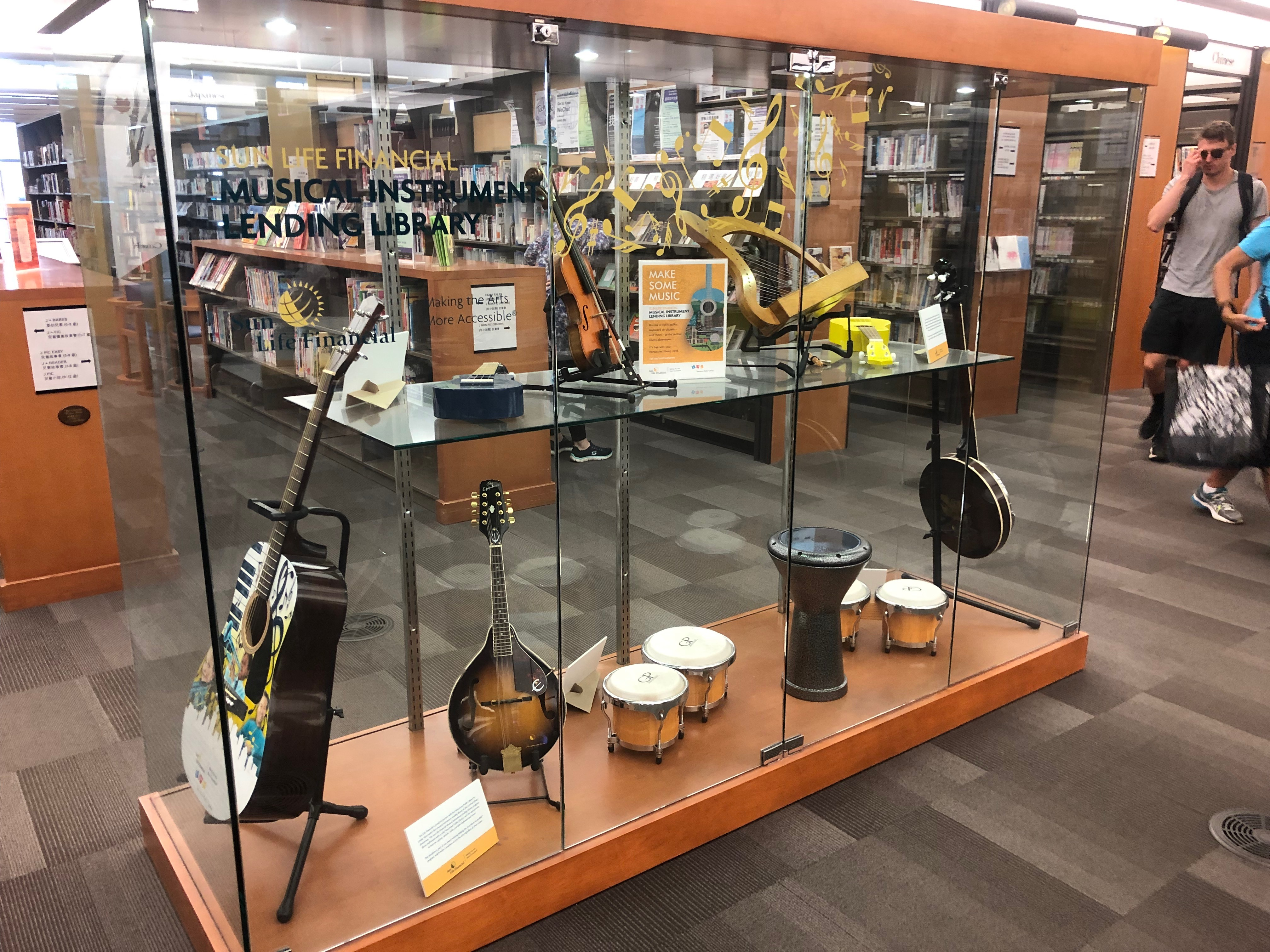 Image of display of VPL's musical instrument lending collection...