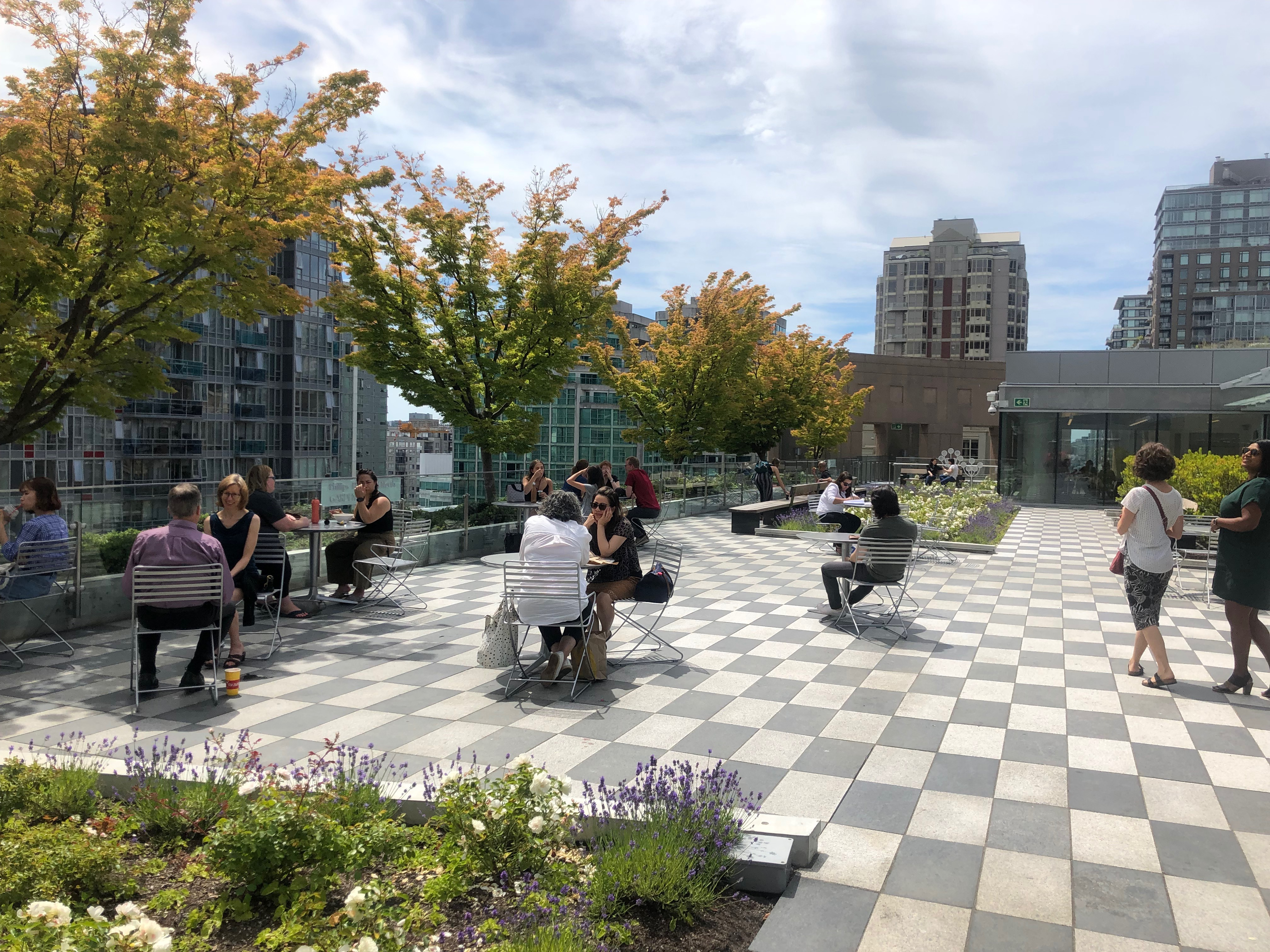 View of fantabulous rooftop garden available at VPL.