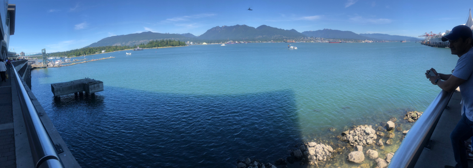 A panoramic view of Vancouver's harbor and the sea planes.