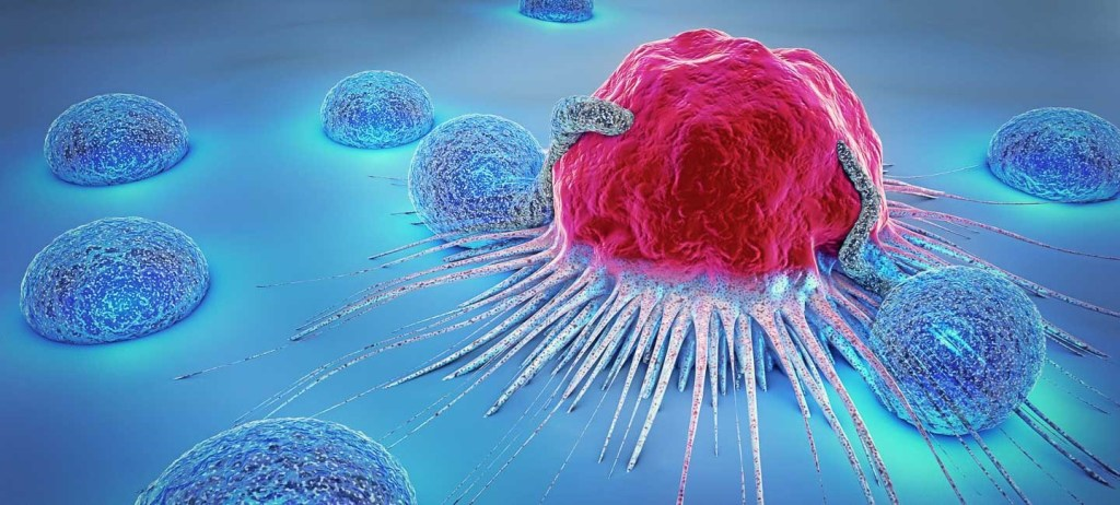 3D image of a cancer cell and lymphocytes.